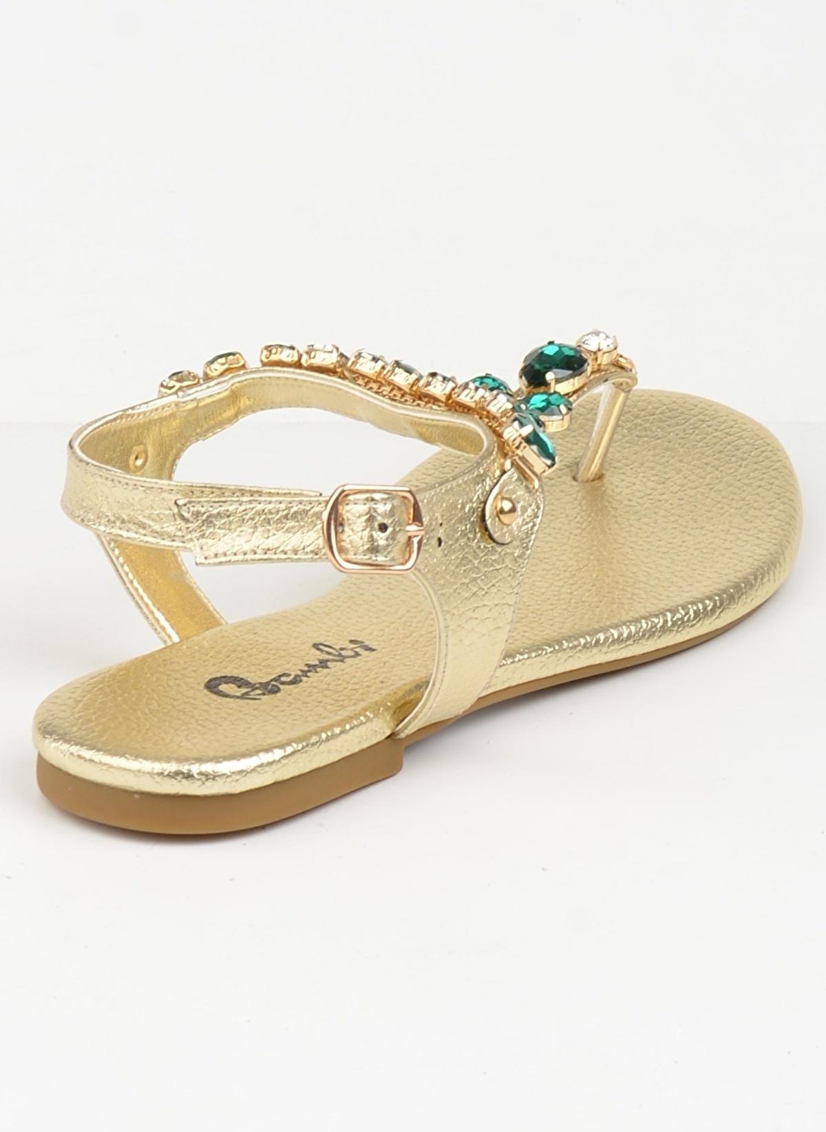 Bambi D0112950309 Altın Rengi Kadın Sandalet